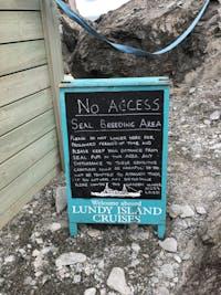No access: Seal Breeding Area sign