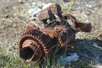 Rusty aircraft remains