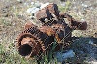 Rusty aircraft remains
