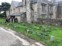 Wedding preparations outside the manor